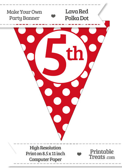 Lava Red Polka Dot Pennant Flag Ordinal Number 5th from PrintableTreats.com