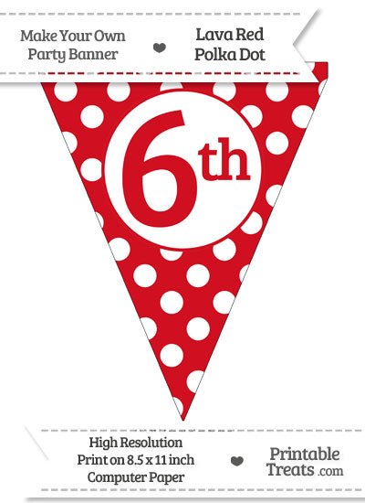 Lava Red Polka Dot Pennant Flag Ordinal Number 6th from PrintableTreats.com
