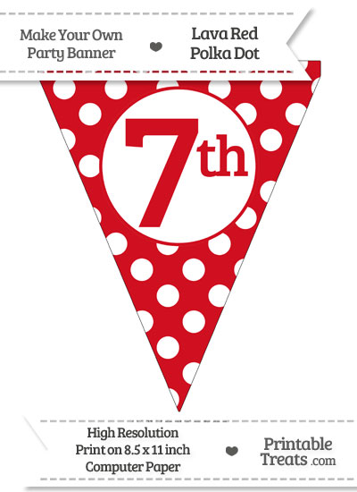 Lava Red Polka Dot Pennant Flag Ordinal Number 7th from PrintableTreats.com