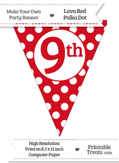 Lava Red Polka Dot Pennant Flag Ordinal Number 9th from PrintableTreats.com