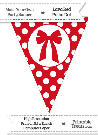Lava Red Polka Dot Pennant Flag with Bow from PrintableTreats.com