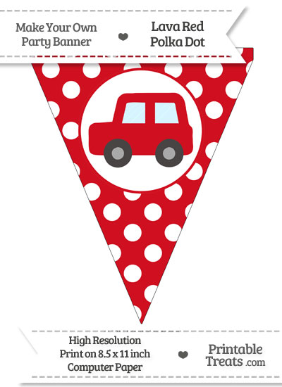 Lava Red Polka Dot Pennant Flag with Car Facing Left from PrintableTreats.com