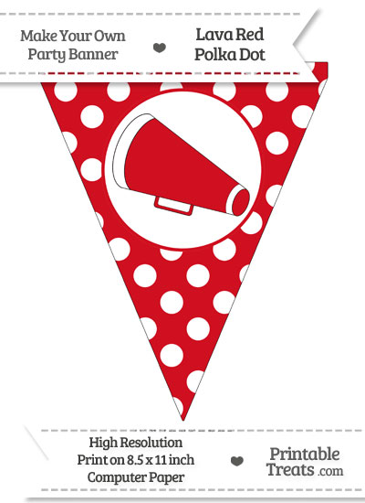 Lava Red Polka Dot Pennant Flag with Cheer Megaphone Facing Left from PrintableTreats.com