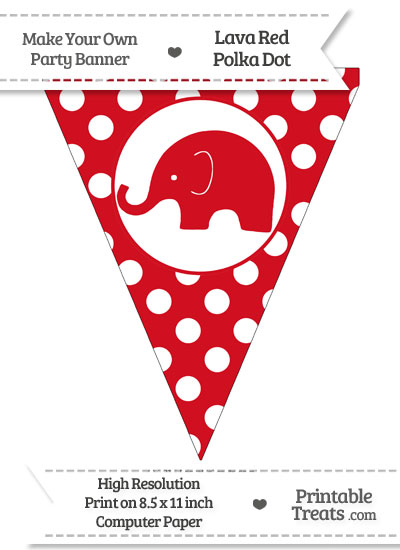Lava Red Polka Dot Pennant Flag with Elephant Facing Left from PrintableTreats.com