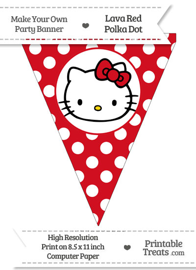 Lava Red Polka Dot Pennant Flag with Hello Kitty from PrintableTreats.com