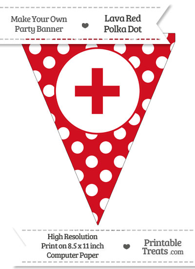 Lava Red Polka Dot Pennant Flag with Plus Sign from PrintableTreats.com
