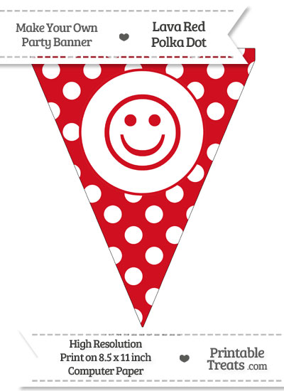 Lava Red Polka Dot Pennant Flag with Smiley Face from PrintableTreats.com