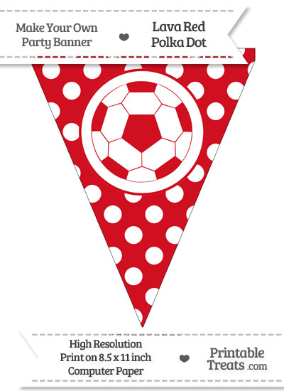 Lava Red Polka Dot Pennant Flag with Soccer Ball from PrintableTreats.com
