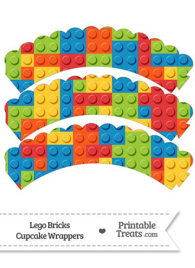 Lego Bricks Scalloped Cupcake Wrappers from PrintableTreats.com