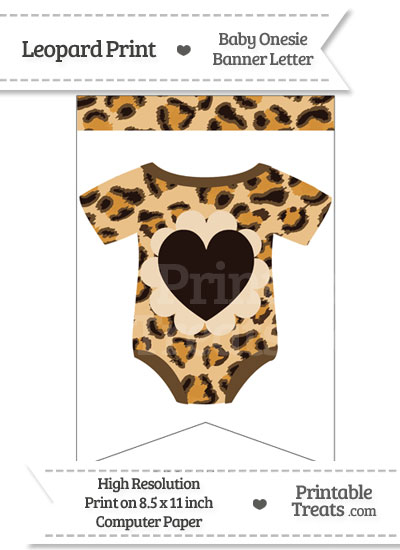 Leopard Print Baby Onesie Bunting Banner Heart End Flag from PrintableTreats.com