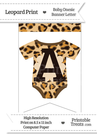 Leopard Print Baby Onesie Bunting Banner Letter A from PrintableTreats.com