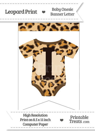Leopard Print Baby Onesie Bunting Banner Letter I from PrintableTreats.com