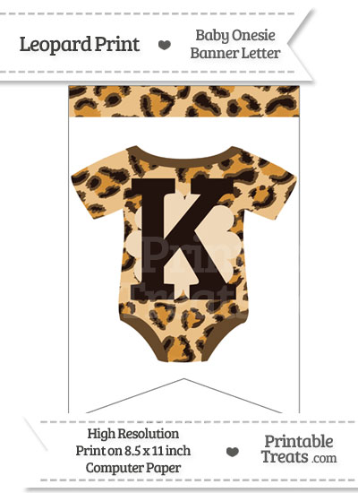 Leopard Print Baby Onesie Bunting Banner Letter K from PrintableTreats.com