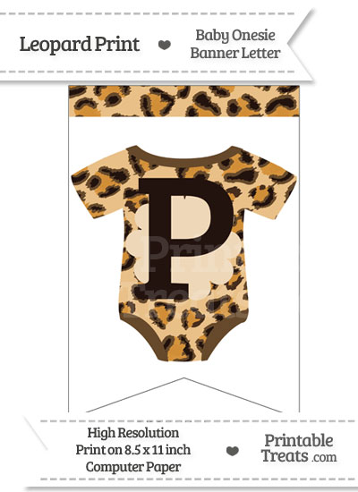 Leopard Print Baby Onesie Bunting Banner Letter P from PrintableTreats.com