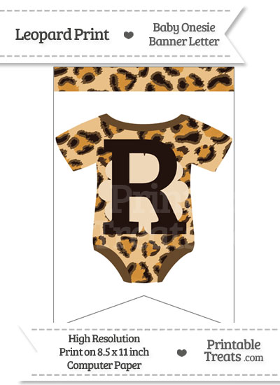 Leopard Print Baby Onesie Bunting Banner Letter R from PrintableTreats.com