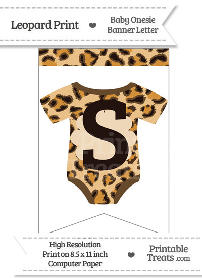 Leopard Print Baby Onesie Bunting Banner Letter S from PrintableTreats.com