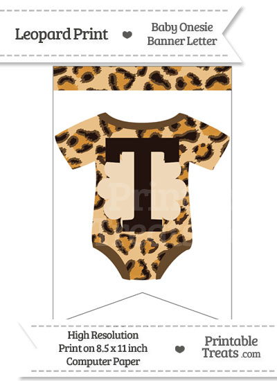 Leopard Print Baby Onesie Bunting Banner Letter T from PrintableTreats.com