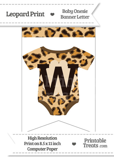 Leopard Print Baby Onesie Bunting Banner Letter W from PrintableTreats.com