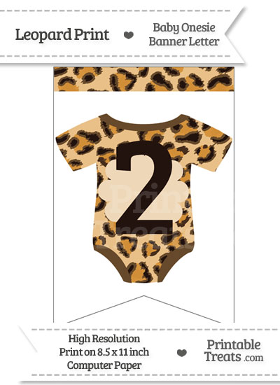 Leopard Print Baby Onesie Bunting Banner Number 2 from PrintableTreats.com