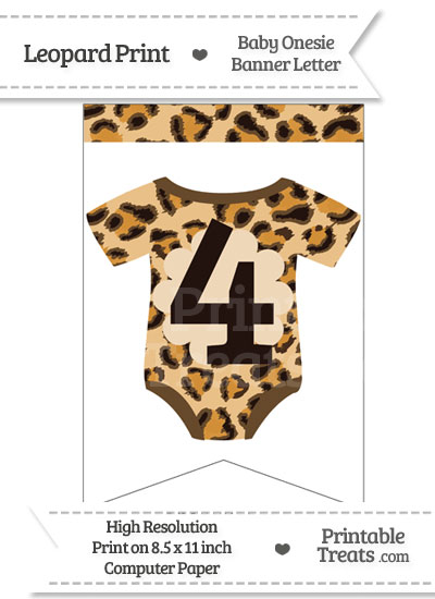 Leopard Print Baby Onesie Bunting Banner Number 4 from PrintableTreats.com
