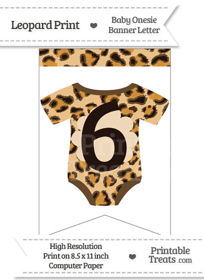 Leopard Print Baby Onesie Bunting Banner Number 6 from PrintableTreats.com