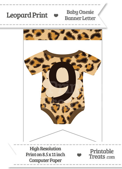 Leopard Print Baby Onesie Bunting Banner Number 9 from PrintableTreats.com