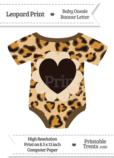 Leopard Print Baby Onesie Shaped Banner Heart End Flag from PrintableTreats.com