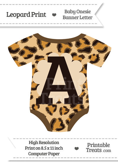 Leopard Print Baby Onesie Shaped Banner Letter A from PrintableTreats.com