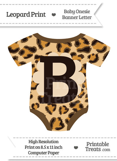 Leopard Print Baby Onesie Shaped Banner Letter B from PrintableTreats.com