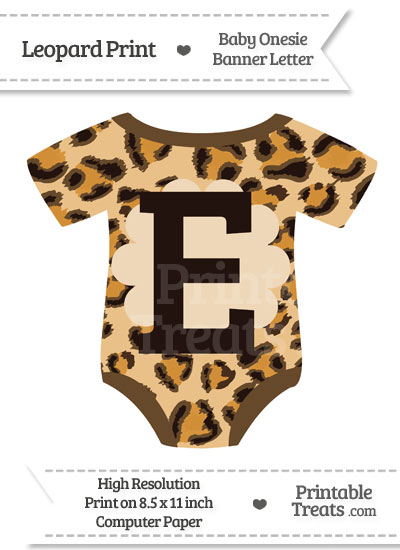 Leopard Print Baby Onesie Shaped Banner Letter E from PrintableTreats.com