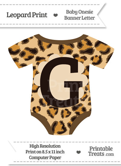 Leopard Print Baby Onesie Shaped Banner Letter G from PrintableTreats.com
