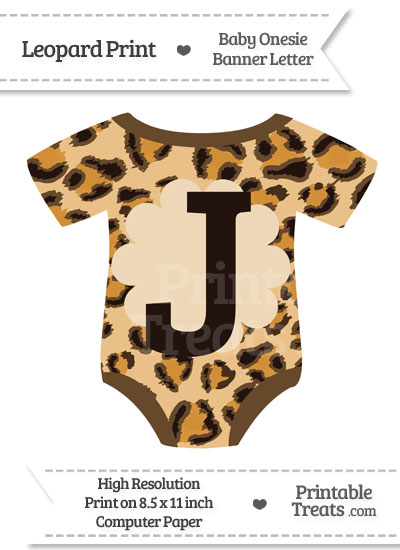 Leopard Print Baby Onesie Shaped Banner Letter J from PrintableTreats.com
