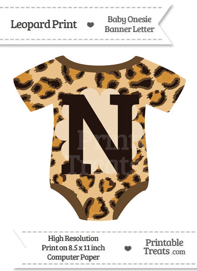 Leopard Print Baby Onesie Shaped Banner Letter N from PrintableTreats.com