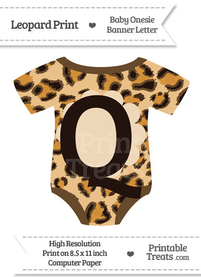Leopard Print Baby Onesie Shaped Banner Letter Q from PrintableTreats.com