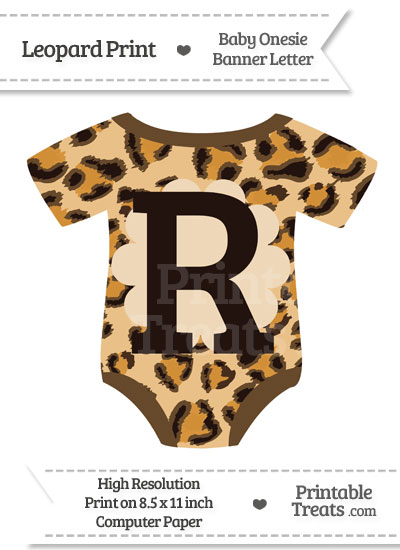 Leopard Print Baby Onesie Shaped Banner Letter R from PrintableTreats.com