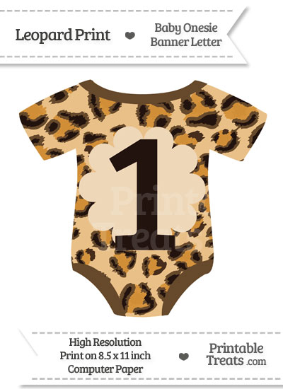 Leopard Print Baby Onesie Shaped Banner Number 1 from PrintableTreats.com
