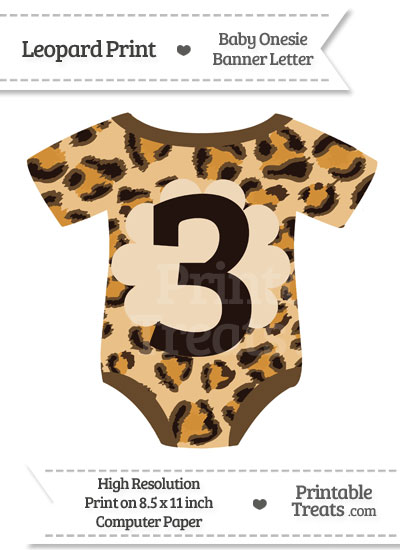 Leopard Print Baby Onesie Shaped Banner Number 3 from PrintableTreats.com