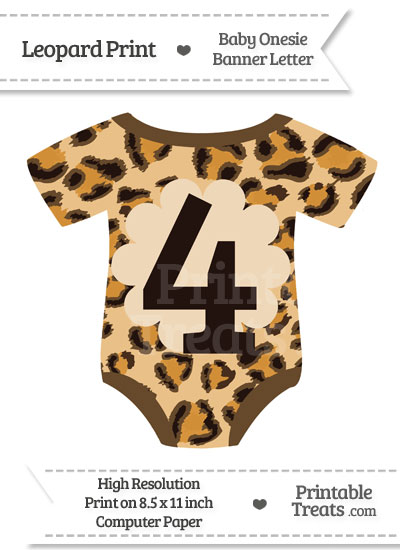 Leopard Print Baby Onesie Shaped Banner Number 4 from PrintableTreats.com