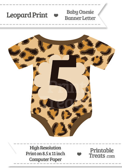 Leopard Print Baby Onesie Shaped Banner Number 5 from PrintableTreats.com