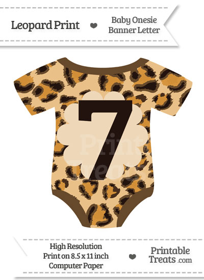 Leopard Print Baby Onesie Shaped Banner Number 7 from PrintableTreats.com