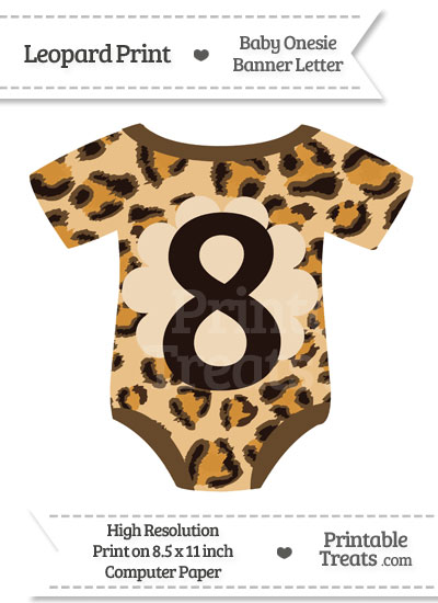 Leopard Print Baby Onesie Shaped Banner Number 8 from PrintableTreats.com