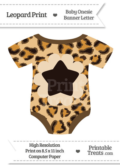 Leopard Print Baby Onesie Shaped Banner Star End Flag from PrintableTreats.com