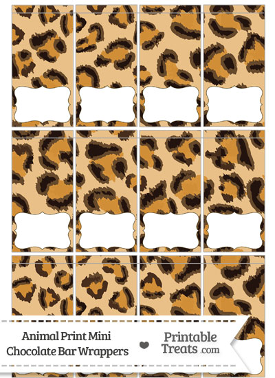 Leopard Print Mini Chocolate Bar Wrappers from PrintableTreats.com