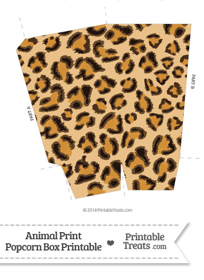Leopard Print Popcorn Box from PrintableTreats.com