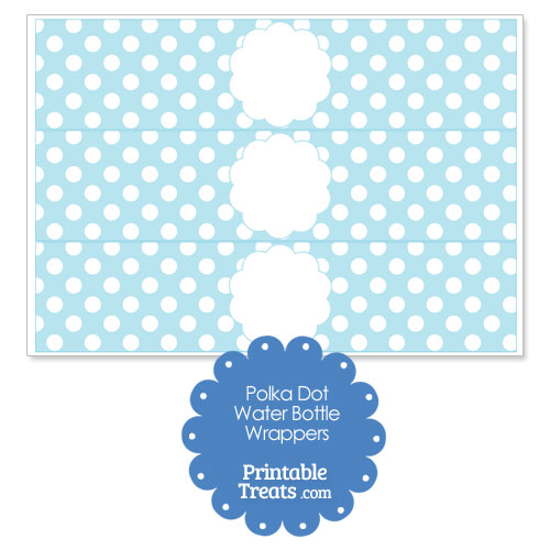 light blue polka dot water bottle wrappers