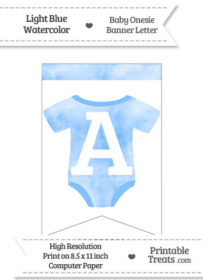 Light Blue Watercolor Baby Onesie Bunting Banner Letter A from PrintableTreats.com