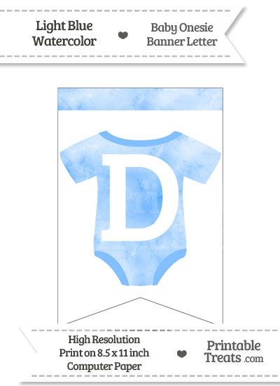 Light Blue Watercolor Baby Onesie Bunting Banner Letter D from PrintableTreats.com