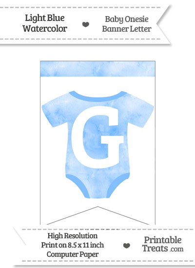 Light Blue Watercolor Baby Onesie Bunting Banner Letter G from PrintableTreats.com
