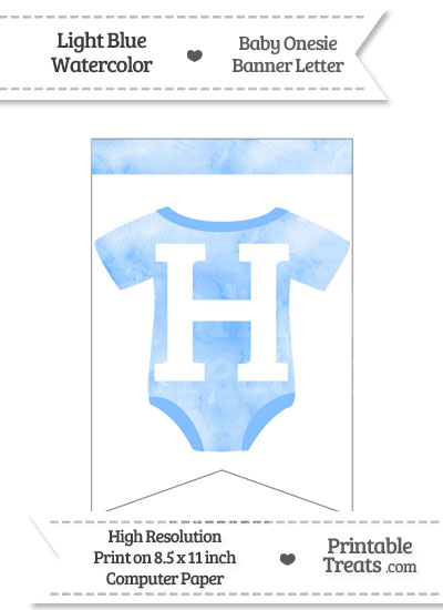 Light Blue Watercolor Baby Onesie Bunting Banner Letter H from PrintableTreats.com