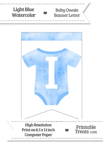 Light Blue Watercolor Baby Onesie Bunting Banner Letter I from PrintableTreats.com